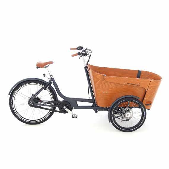 Babboe Carve Mountain la cargo bike che piega in curva vista laterale