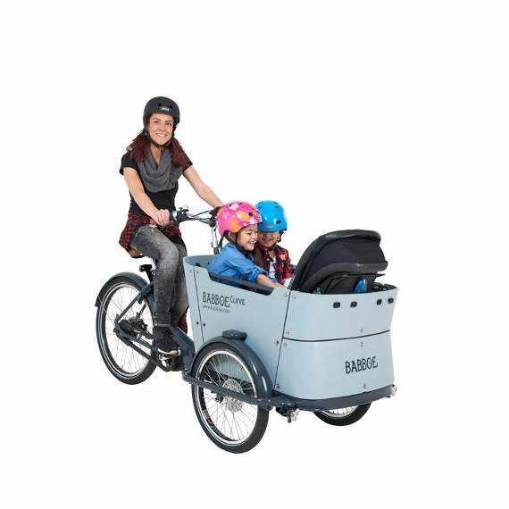 Babboe Curve cargo bike accattivante per il trasporto di bambini