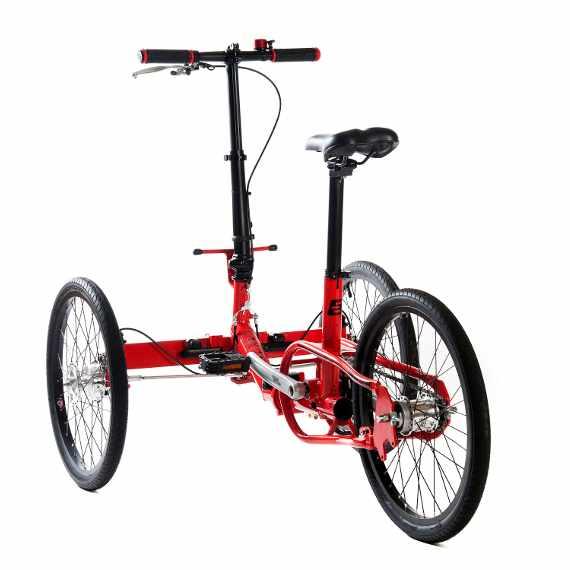 Etnnic triciclo pieghevole rosso muscolare vista posteriore