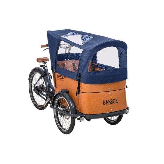 Tenda parapioggia per tutti i modelli cargo bike Babboe Curve, colore blu.