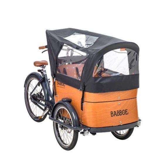 Tenda parapioggia per tutti i modelli cargo bike Babboe Curve, colore nero.