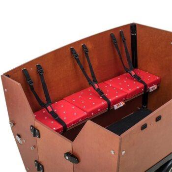 cuscini panca 3 posti cargobike max rosso pois