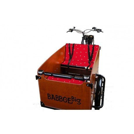 cuscini panca rosso pois per cargo bike Babboe Big