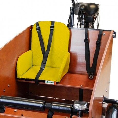 sedile bimbo per cargo bike Babboe gialla