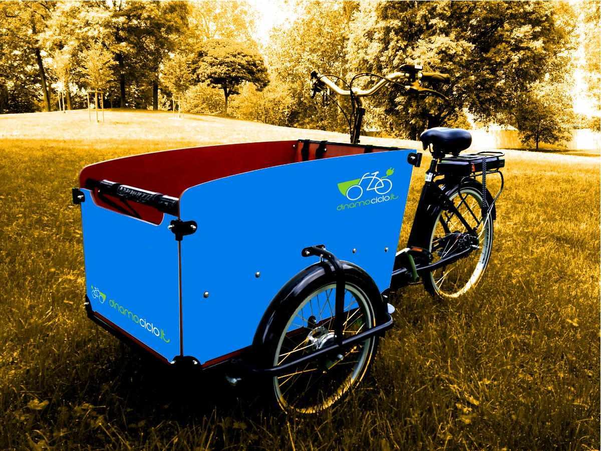 Babboe Big cargo bike esempio personalizzazione cassone blu